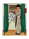 """Undecided""  November 4, 1944.  Man in voting booth w/newspaper. Reproduction procédé giclée par Norman Rockwell"