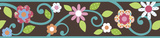Scroll Floral Peel & Stick Border Wall Decal - Brown/Teal Wall Decal