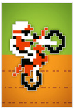 Wheelie 8-bit Video Game Plastic Sign Targa di plastica