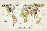 Animal Map of the World Prints by Michael Tompsett