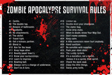 Zombie Apocalypse Survival Rules Movie Poster Print