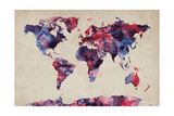 World Map Watercolor Lámina fotográfica por Michael Tompsett