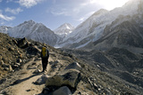 A Trekker on the Everest Base Camp Trail, Nepal Photographic Print by David Noyes