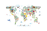 Animal Map of the World Fotoprint van Michael Tompsett