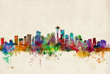 Seattle Washington Skyline Posters by Michael Tompsett