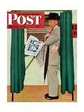 """Undecided"" Saturday Evening Post Cover, November 4, 1944.  Man in voting booth w/newspaper. Giclee Print by Norman Rockwell"
