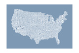 United States Typography Text Map Photographic Print by Michael Tompsett