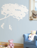 Kids on Swing White Peel & Stick Giant Wall Decal Wall Decal
