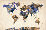 World Map Watercolor Photographic Print by Michael Tompsett