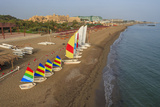 Aerial View of Sailboats on the Beach, Belek, Antalya, Turkey Photographic Print by Ali Kabas