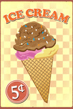 Retro Ice Cream Plastic Sign Plastic Sign