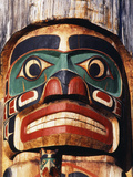 Totem Pole Detail, Duncan, Vancouver Island, BC, Canada Photographic Print by Walter Bibikow