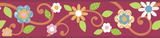 Scroll Floral Peel & Stick Border Wall Decal - Magenta/Orange Wall Decal