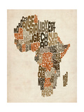 Typography Text Map of Africa Photographic Print by Michael Tompsett