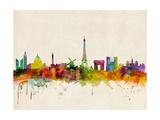 Skyline von Paris Poster von Michael Tompsett