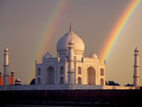 Double Rainbow over Taj Mahal Mausoleum, Agra, India Photographic Print by  Jaynes Gallery