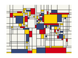 Mondrian Abstract World Map Print by Michael Tompsett