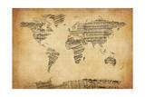 Mapa del Mundo Mapa de Viejo Sheet Music Láminas por Michael Tompsett