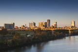 City Skyline from the Arkansas River, Dawn, Little Rock, Arkansas, USA Photographic Print by Walter Bibikow
