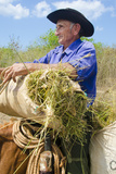 Portrait of Old Ranch Cowboy on Horse, Cienfuegos, Cuba Photographic Print by Bill Bachmann
