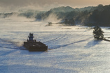 River Barge at Dawn, Arkansas River, Little Rock, Arkansas, USA Photographic Print by Walter Bibikow