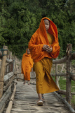 Monks Crossing Wooden Footbridge, Luang Prabang, Laos Photographic Print by  Jaynes Gallery