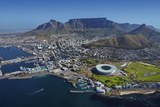 Aerial of Stadium,Waterfront, Table Mountain, Cape Town, South Africa Papier Photo par David Wall