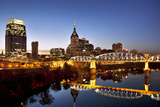 Twilight over the Cumberland River and Nashville, Tennessee, USA Fotodruck von Brian Jannsen
