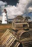 East Point Lighthouse and Lobster Traps, Prince Edward Island, Canada Fotografisk tryk af Walter Bibikow