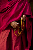 Hands of a Monk in Red Holding Prayer Beads, Leh, Ladakh, India Photographic Print by Ellen Clark
