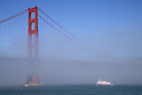 Golden Gate Bridge and Ferry in Fog, San Francisco, California, USA Photographic Print by Peter Bennett