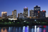 City Skyline from the Arkansas River, Dusk, Little Rock, Arkansas, USA Photographic Print by Walter Bibikow