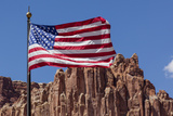 US Flag with Sandstone Rock Formations, Capitol Reef NP, Utah, USA Photographic Print by Frank Zurey