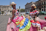 Women with Flowers at Capital in Pink Ford, Havana, Cuba Photographic Print by Bill Bachmann