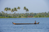 Man Rowing a Long Wooden Canoe, Backwaters, Kerala, India Photographic Print by Ali Kabas