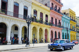 Pastel Buildings Near City Center, Havana, Cuba Fotoprint av Bill Bachmann