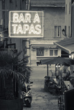 Neon Sign for Tapas Bar, Dusk, Ile Rousse, La Balagne, Corsica, France Photographic Print by Walter Bibikow