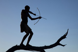 Silhouette of Bushman with Bow and Arrow Balanced on Branch, Namibia Photographic Print by  Jaynes Gallery
