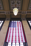 Us Flag Hanging in the Union Railroad Station, Omaha, Nebraska, USA Photographic Print by Walter Bibikow