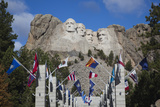 Mount Rushmore National Memorial, Avenue of Flags, South Dakota, USA Photographic Print by Walter Bibikow
