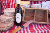 Cherry Wine and Cheeses for Sale at Market, Gordes, Provence, France Lámina fotográfica por Brian Jannsen