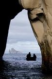 Kicker Rock Seen Through a Cave from San Cristobal, Galapagos, Ecuador Fotografisk tryk af Cindy Miller Hopkins