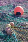 Port, Fishing Nets, Granville, Normandy, France Photographic Print by Walter Bibikow
