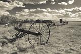 Antique Hay Raker, Prairie Homestead, Cactus Flat, South Dakota, USA Photographic Print by Walter Bibikow