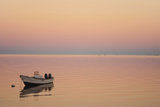 Pink Sunrise with Small Boat in the Ocean, Ifaty, Tulear, Madagascar Photographic Print by Anthony Asael