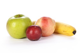 Apple, Plum, Nectarine, and Banana on a While Background Photographic Print by Matt Freedman