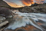 Sunrise Clouds over Swiftcurrent Falls, Glacier NP, Montana, USA Photographic Print by Chuck Haney
