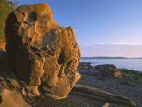 Boulder at Sunrise on Beach, Washington, Orcas Island, USA Photographic Print by Charles Gurche