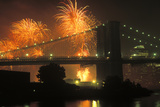 4th of July, Brooklyn Bridge, New York, USA Photographic Print by Peter Bennett