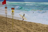 Surfers at Sunset Beach, Oahu, Hawaii, USA Photographic Print by Charles Crust